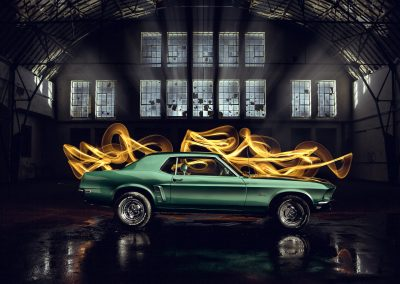 Mustang flames power